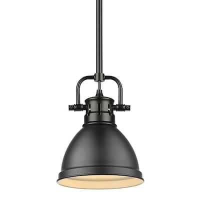 Duncan 1-Light Black Mini-Pendant and Rod with Matte Black Shade
