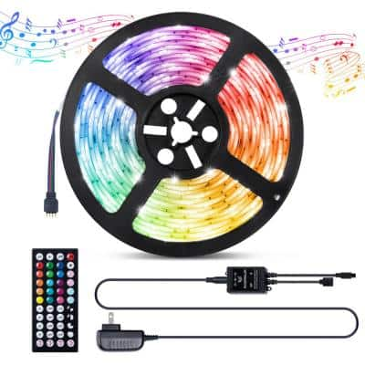 Lights Strip 16.4 ft. LED White and Multi-Color (RGB) with Remote, Timer Function and Music Mode - Under Cabinet Light