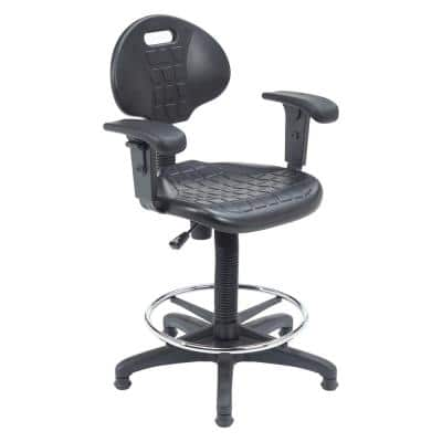 48 in. Black Kangaroo Stool Polyurethane Seat and Backrest Stool with Arms