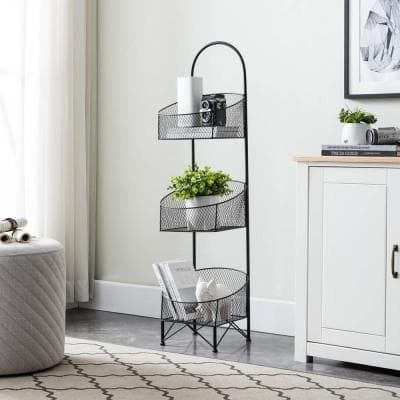 3-Tiered Black Metal Wire Mesh Portable Basket Stand