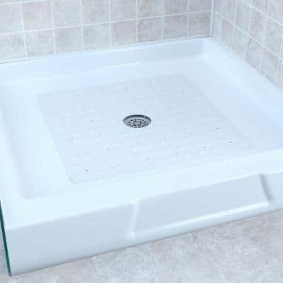 SlipX Solutions 21 in. x 21 in. Square Rubber Safety Shower Mat with Microban in White