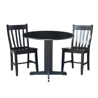 Black Wood Dining Chair (Set of 2)