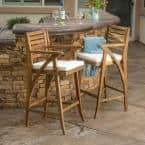 Hermosa Wood Outdoor Bar Stool with Cream Cushion (2-Pack)