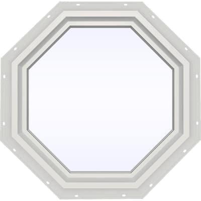 23.5 in. x 23.5 in. V-4500 Series White Vinyl Fixed Octagon Geometric Window w/ Low-E 366 Glass