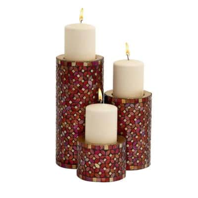 Red Metal Glam Candle Holder (Set of 3)