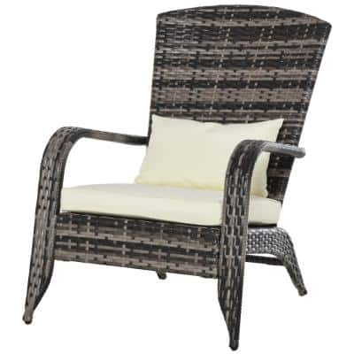Brown Plastic Rattan Outdoor Adirondack Chair with White Cushions