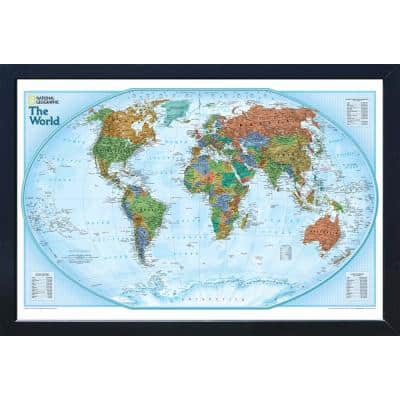National Geographic Framed Interactive Wall Art Travel Map with Magnets - World Explorer - Standard Edition