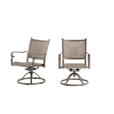 Wilshire Estates Aluminum Sunbrella Sling Swivel Outdoor Patio Dining Rocker Chair (2-Pack)
