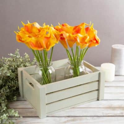 Sunset Orange Artificial Calla-Lily Flowers with Stems (24-Pack)