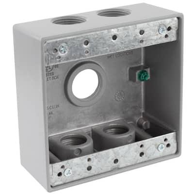 3/4 in. Gray 2-Gang 5-Holes Weatherproof Box