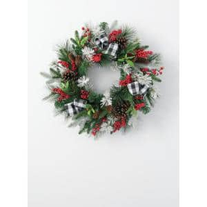 24 in. Artificial Pine, Berry & Ribbon Wreath