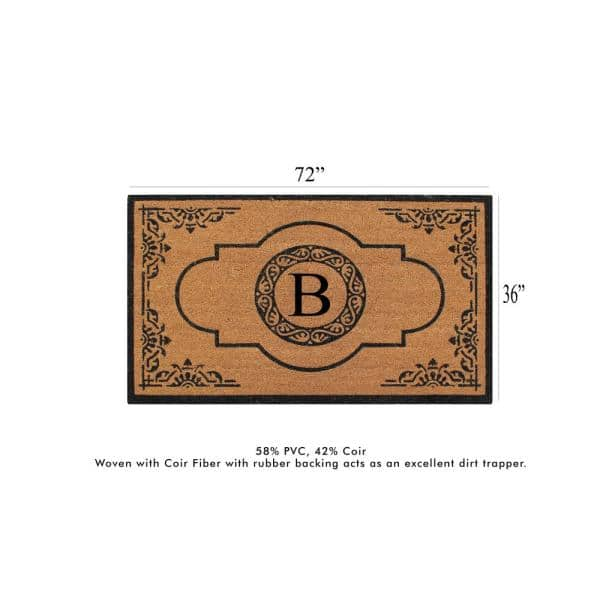 A1 Home Collections A1hc First Impression Hand Crafted X Large Abrilina 36 In X 72 In Entry Coir Monogrammed Double Door Mat Pt6001 B The Home Depot