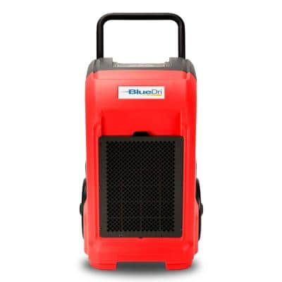 150-Pint Commercial Dehumidifier in Red for Water Damage Restoration Mold Remediation