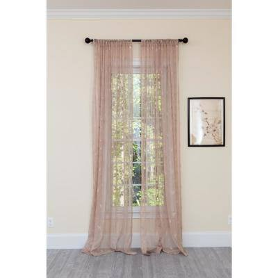 Brown Butterfly Rod Pocket Sheer Curtain - 54 in. W x 84 in. L