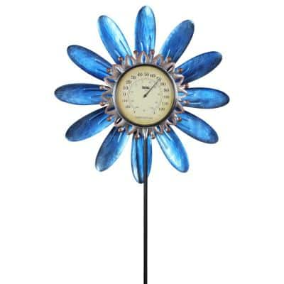 4.13 ft. Teal Metal Spinning Flower Thermometer Garden Stake