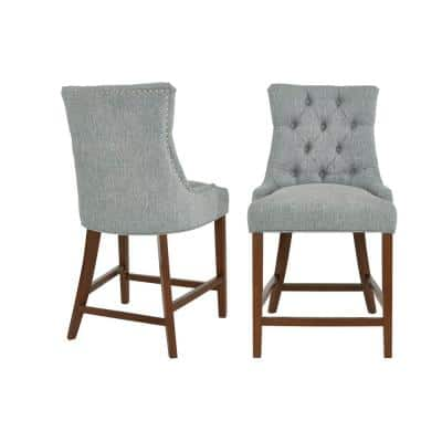 Bakerford Walnut Finish Upholstered Counter Stool with Back and Aloe Green Seat (Set of 2) (21.85 in. W x 40.55 in. H)