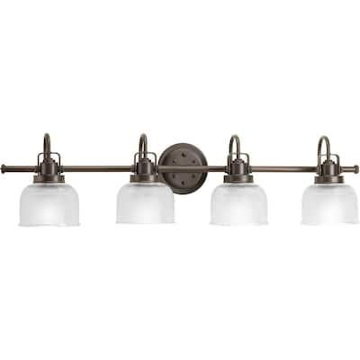 Archie Collection 4-Light Venetian Bronze Clear Double Prismatic Glass Coastal Bath Vanity Light
