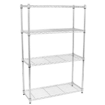 55 in. H x 14 in. W x 35 in. D Chrome 4-Layer Shelves Kitchen Cart Storage Organizer