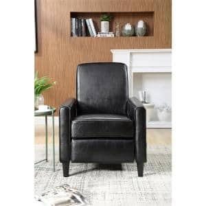 Vivian 27 in. Width Big and Tall Black Faux Leather 1 Position Recliner
