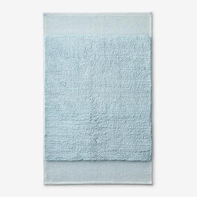 Organic Spa Blue 24 in. x 40 in. Cotton Bath Rug