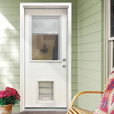 31-3/4 in. x 79 in. Clear Half Lite Mini-Blind White Primed Fiberglass Front Door Slab with Extra Large Pet Door