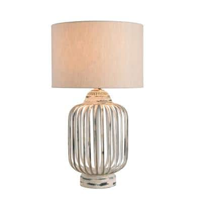Bodhi 27 in. Antique White Table Lamp with Cream Fabric Shade