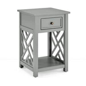 Coventry 23 in. H Gray Wood End Table with Drawer and Shelf