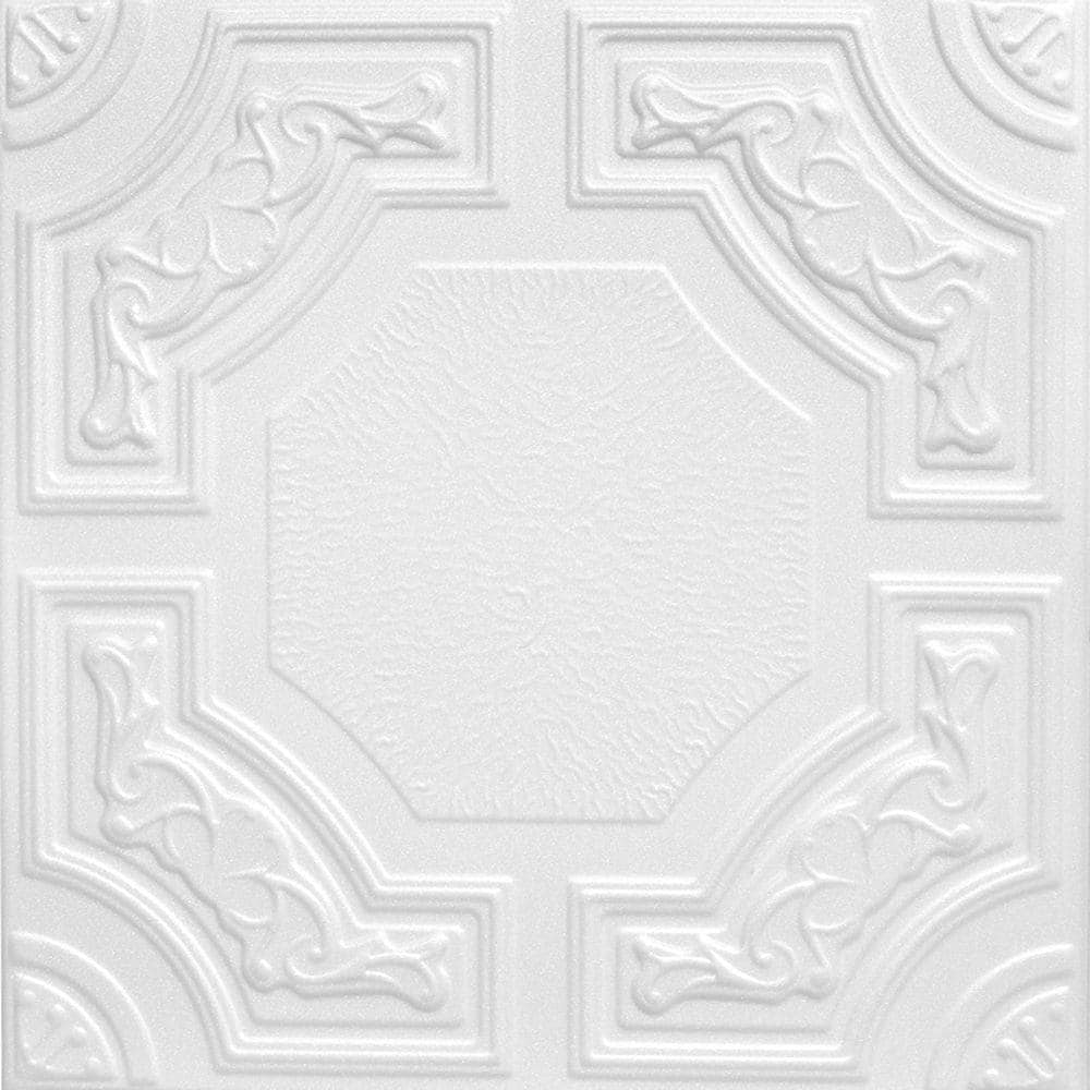 A La Maison Ceilings Evergreen 1 6 Ft X 1 6 Ft Glue Up Foam Ceiling Tile In Plain White 21 6 Sq Ft Case R28cpw 8 The Home Depot