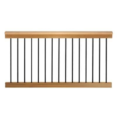 Vista 36 in. x 6 ft. Traditional Cedar Level Rail Kit with Round Aluminum Ballusters
