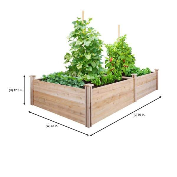 Greenes Fence 4 Ft X 8 Ft X 17 5 In Original Cedar Raised Garden Bed Rc6s6t35b The Home Depot