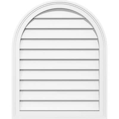 24 in. x 36 in. Round Top Surface Mount PVC Gable Vent: Functional with Brickmould Frame