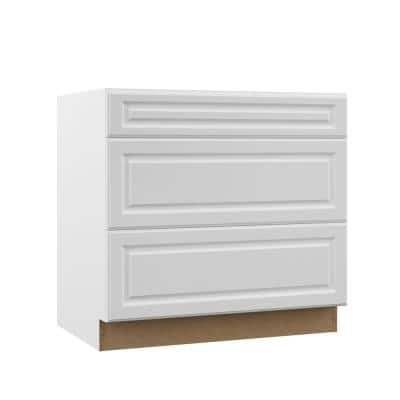 Designer Series Elgin Assembled 36x34.5x23.75 in. Pots and Pans Drawer Base Kitchen Cabinet in White
