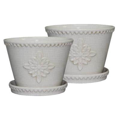 Lorna 8 in. x 6 in. Pearl White Ceramic Pot (2-Pack)