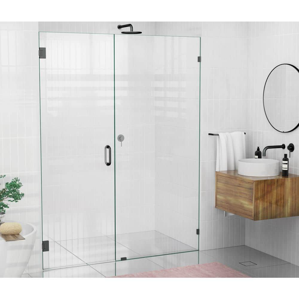 Glass Warehouse 58 In X 78 In Frameless Hinged Glass Panel Shower Door In Oil Rubbed Bronze With Handle Gw Wh 58 Orb The Home Depot