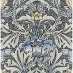 30.75 sq. ft. Charcoal & Carolina Blue Morris Flower Vinyl Peel and Stick Wallpaper Roll