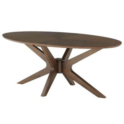 Mid-Century 48 in. Walnut Large Oval Wood Coffee Table