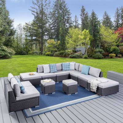 Santa Rosa Grey 11-Piece Wicker Outdoor Sectional Set with Silver Cushions