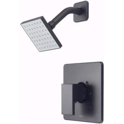 Mod 1-Handle Wall Mount Shower Faucet Trim Kit in Matte Black with Square Showerhead (Valve not Included)