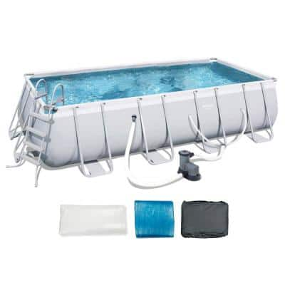 9 ft. x 18 ft. x 48 in. Deep Steel Metal Framed Rectangular Above Ground Hard Sided Swimming Pool