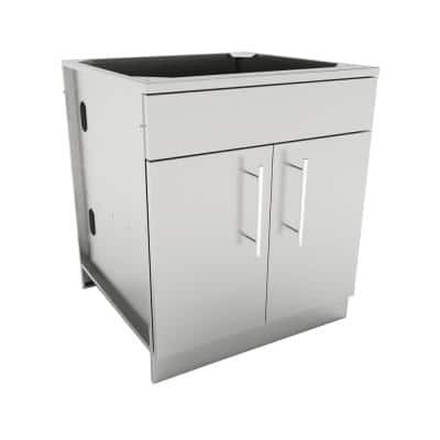 Designer Series 304 Stainless Steel 30 in. x 34.5 in. x 28.25 in. Double Door Base Cabinet with Shelf, False Top Panel