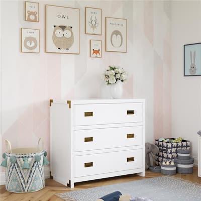 Mylan 3-Drawer White Wood Dresser