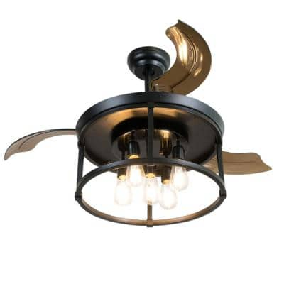 42 in. Indoor Black Ceiling Fan with Light with Remote Control