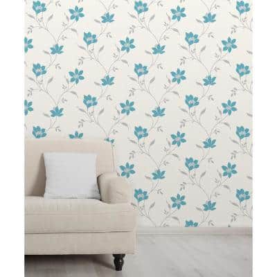 Isobelle Teal Floral Wallpaper Border Sample