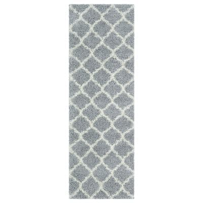 Shag Collection Gray Moroccan Trellis Design 3 ft. x 8 ft. Runner Rug
