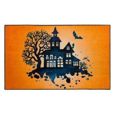 Haunted Silhouette Orange 2 ft. x 3 ft. 4 in. Halloween Indoor Area Rug