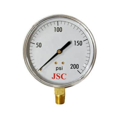 200 PSI Pressure Gauge with 2 in. Face and 1/4 in. MIP Brass Connection
