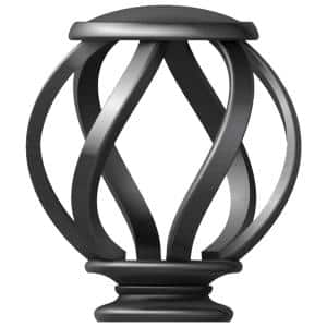 Mix and Match Swirl Cage 1 in. Curtain Rod Finial in Gunmetal (2-Pack)