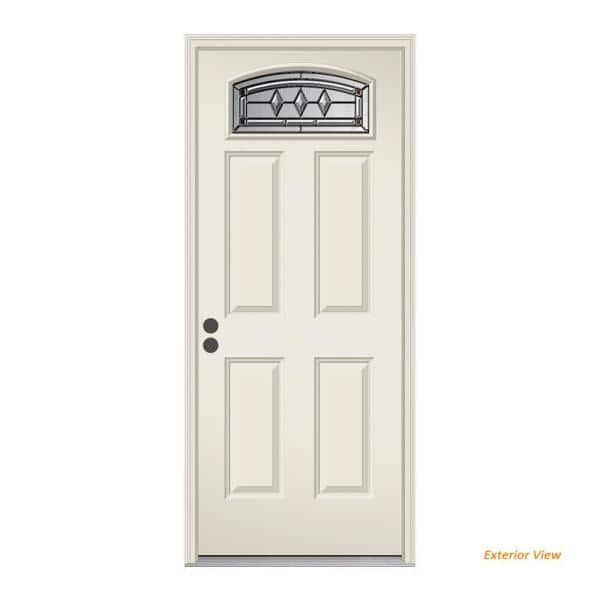 Jeld Wen 36 In X 80 In Camber Top Mission Prairie Primed Steel Prehung Right Hand Inswing Front Door W Brickmould Thdjw166700579 The Home Depot