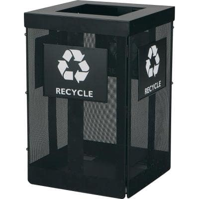 Onyx 36 Gal. Black Steel Waste Receptacle with Overlapping Lid