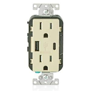 15 Amp Decora Tamper-Resistant Duplex Outlet with Type A and C USB Charger, Ivory